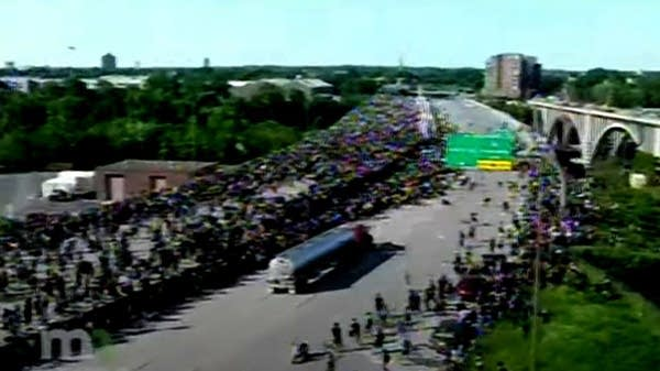 A tanker truck drives into a crowd