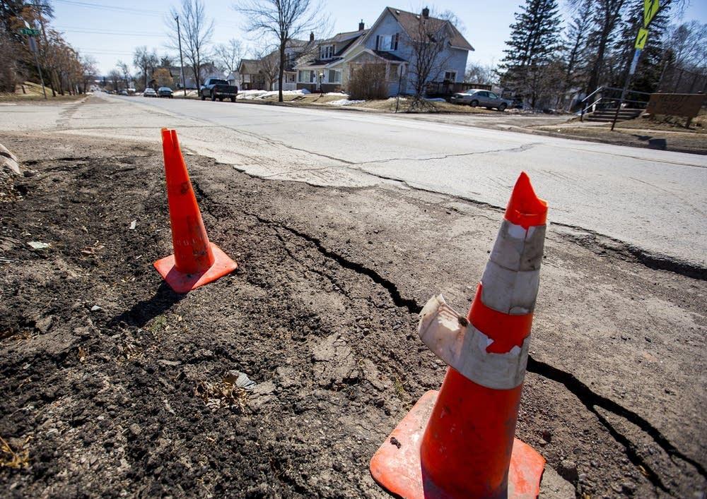 Cones mark danger spots.