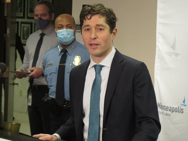 Minneapolis Mayor Jacob Frey speaks to reporters.
