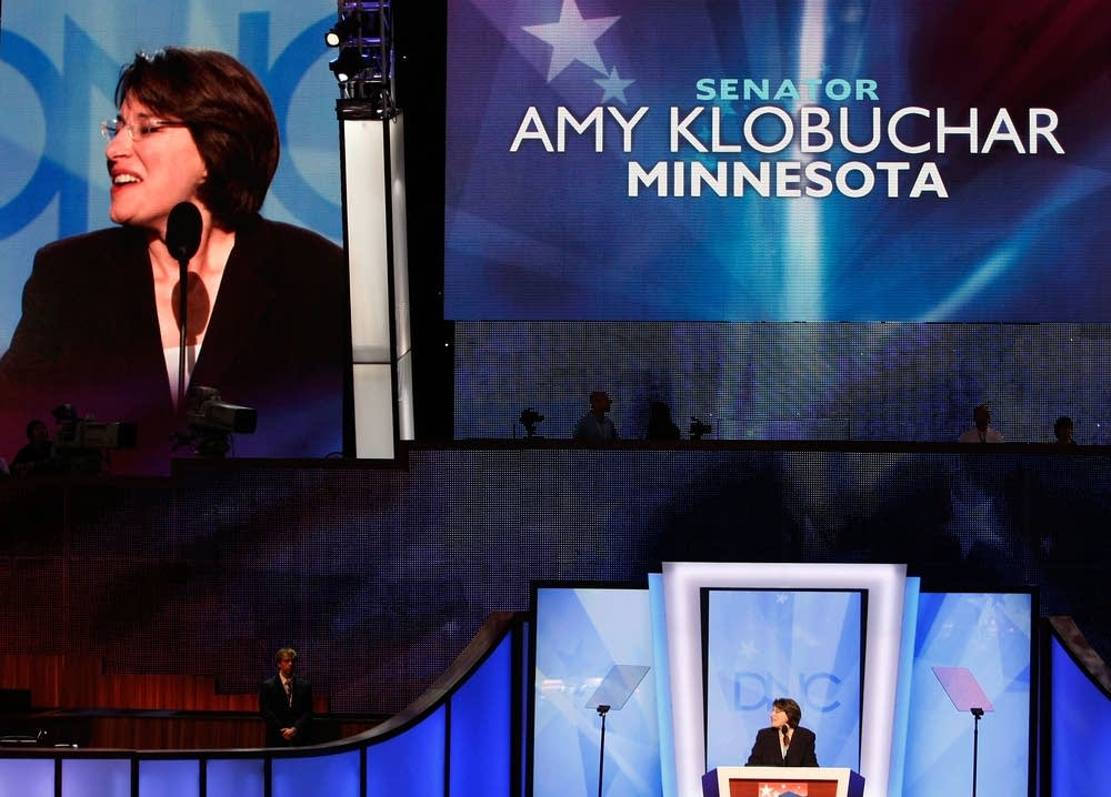 U.S. Sen. Amy Klobuchar (D-MN) speaks at DNC