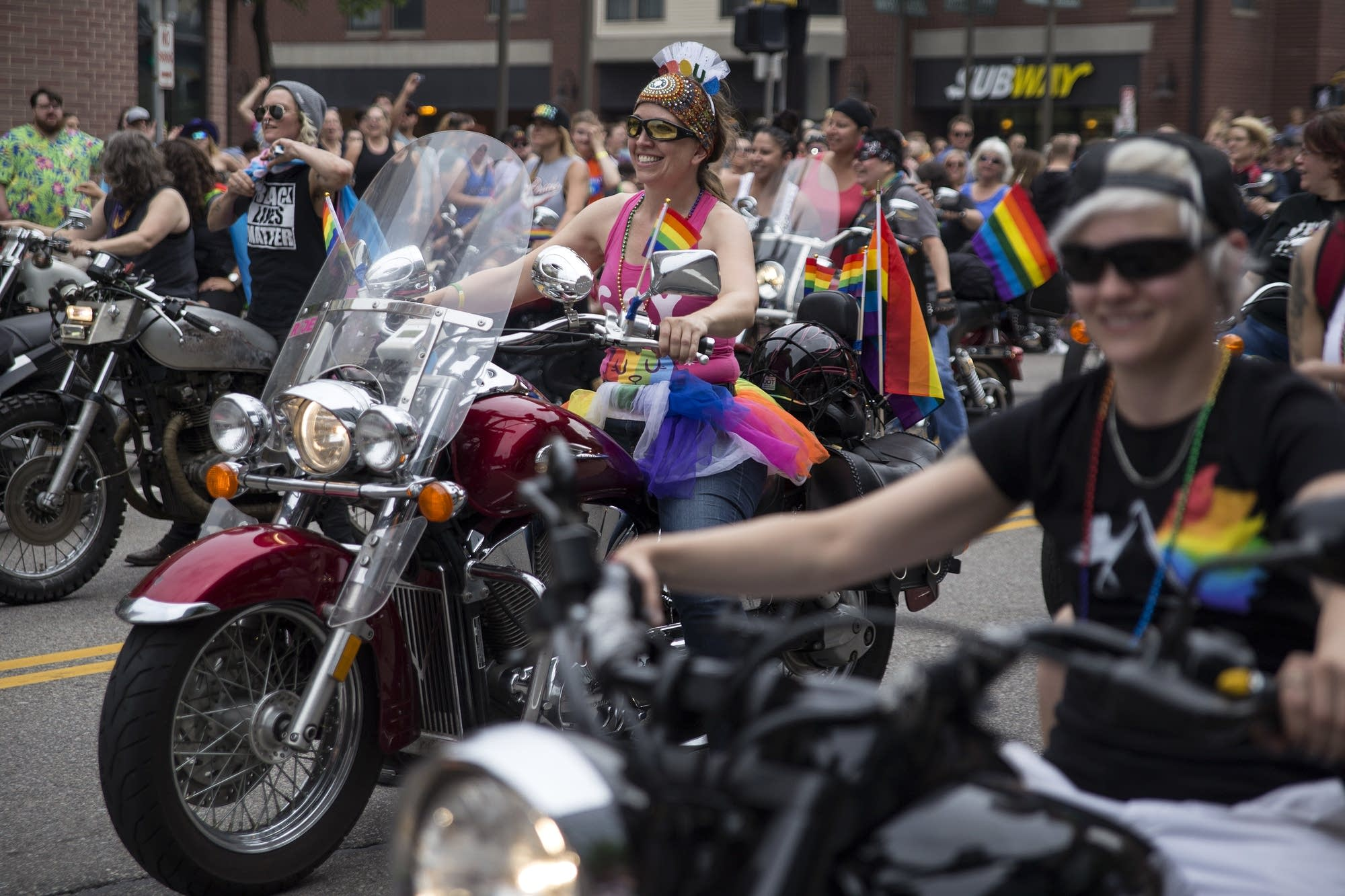 Dykes On Bikes lead the start of the parade.
