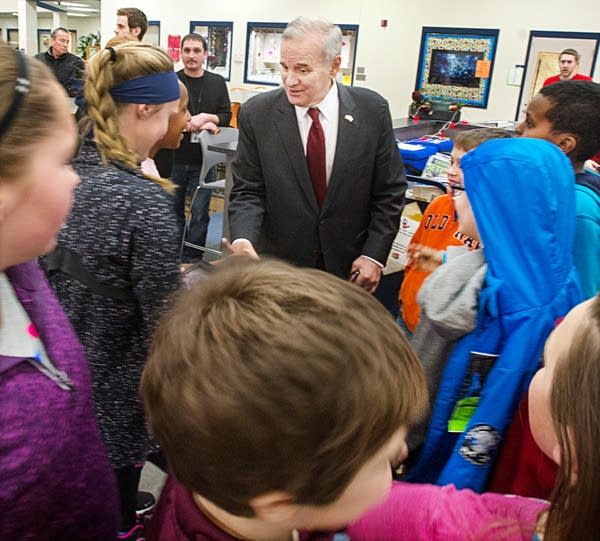 Dayton visited with Mankato students, counselors.