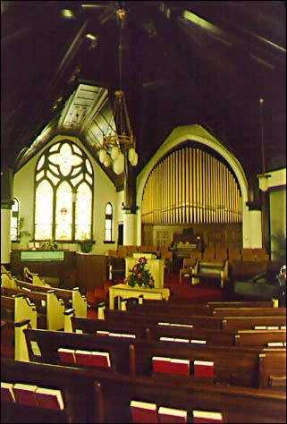 1908 Pilcher organ, Op. 626, at DeHaven Memorial Baptist Church in...