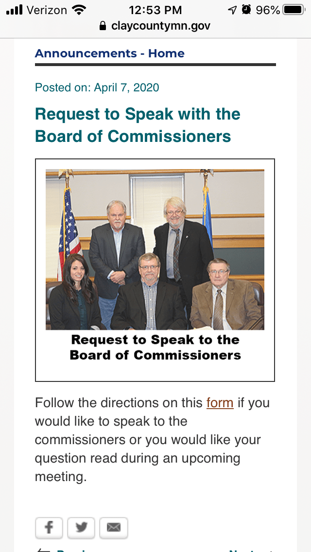 a public announcement for a county board meeting