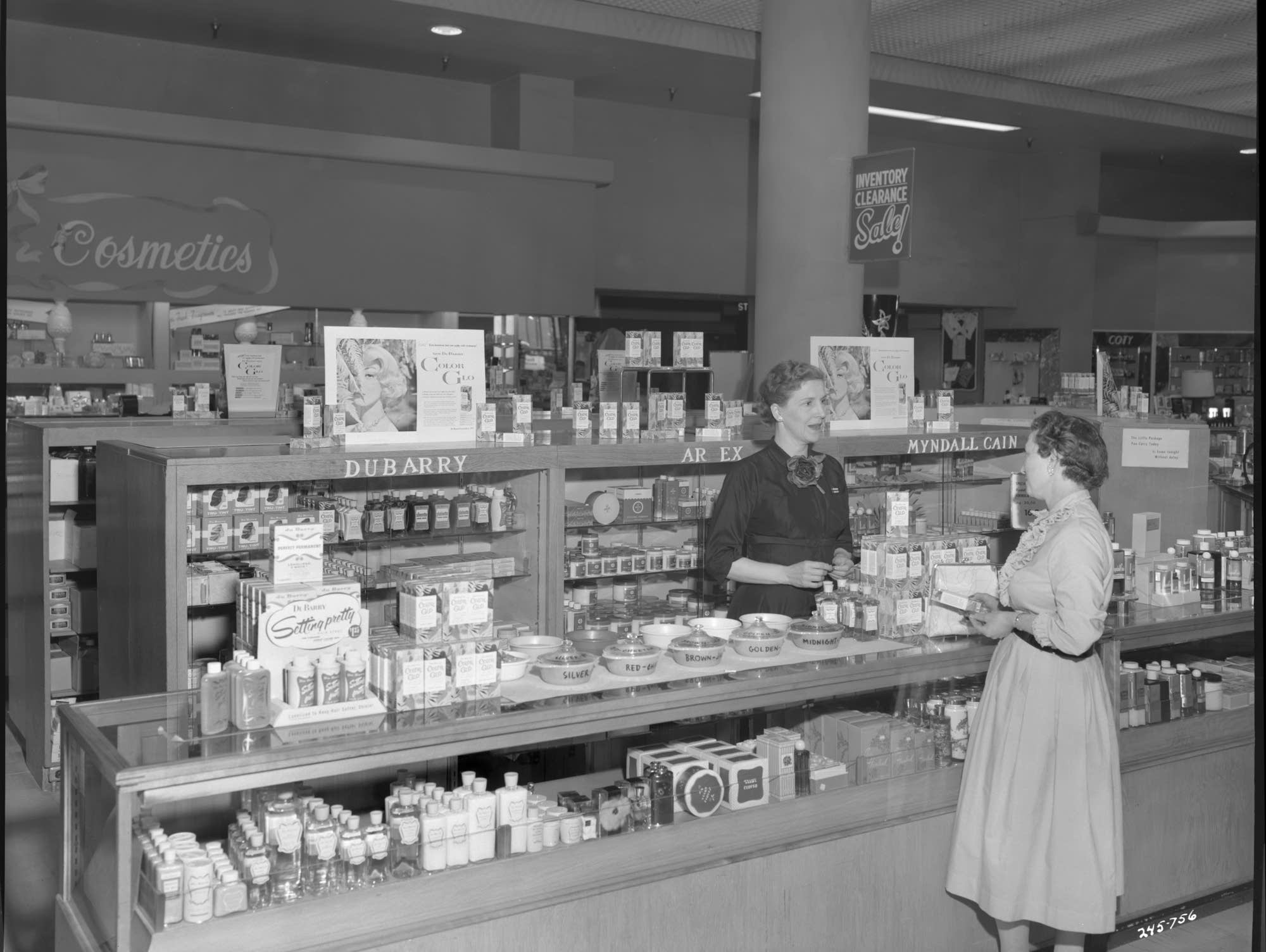Cosmetics counter at Donaldson's in 1957