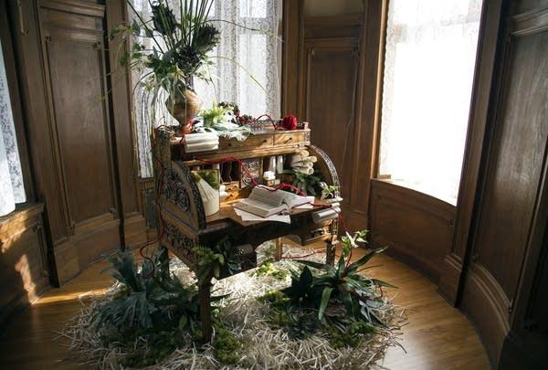 Desk, floral arrangement inspired by Alice Munro.