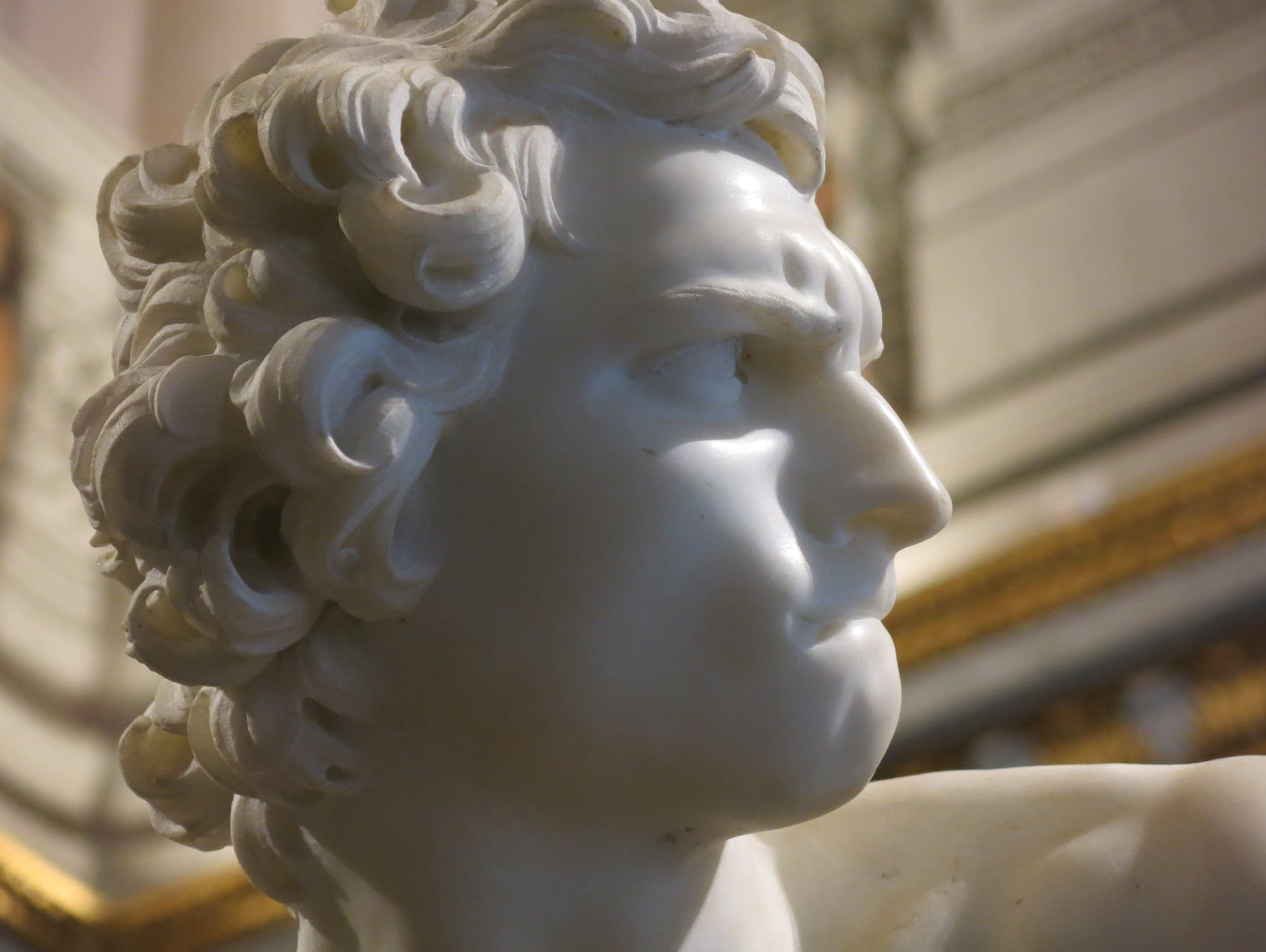 A statue of David in Rome's Borghese Gallery.