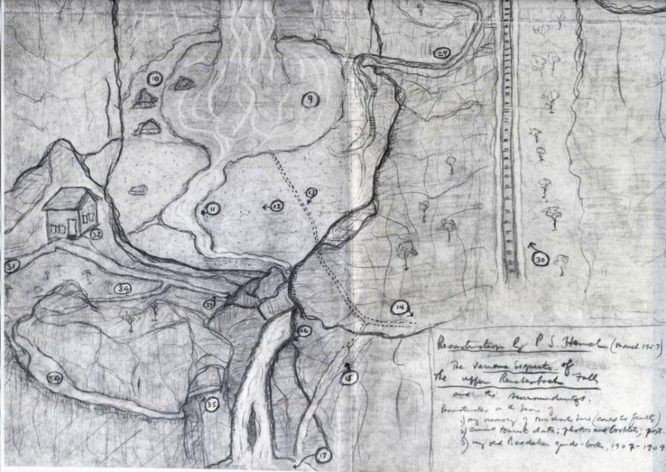 A hand-drawn map of Reichenbach Falls