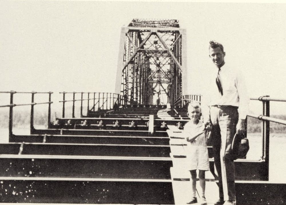 Jack Sverdrup stands on his first bridge