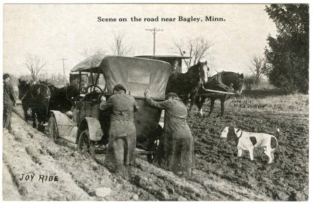 Horses pulling car