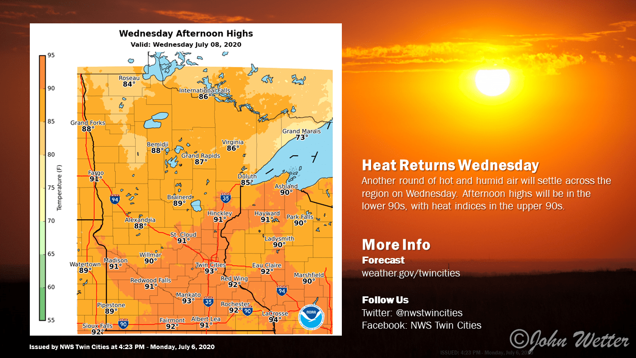 Forecast high temperatures Wednesday afternoon