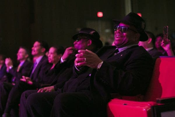 Jimmy Jam, right, laughs next to his musical partner Terry Lewis