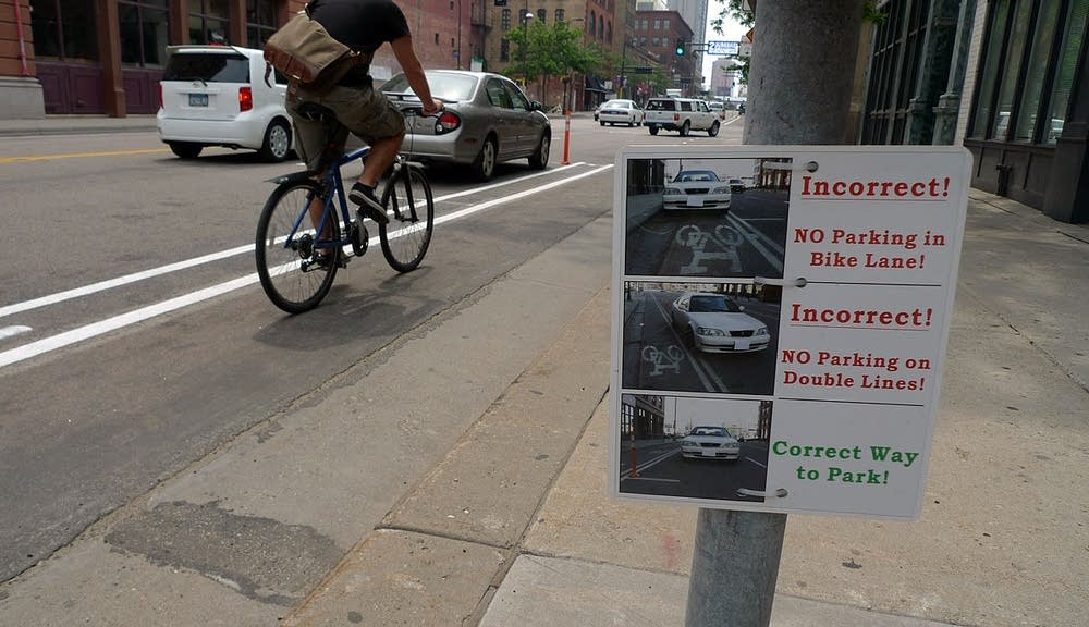Bike lane parking signs
