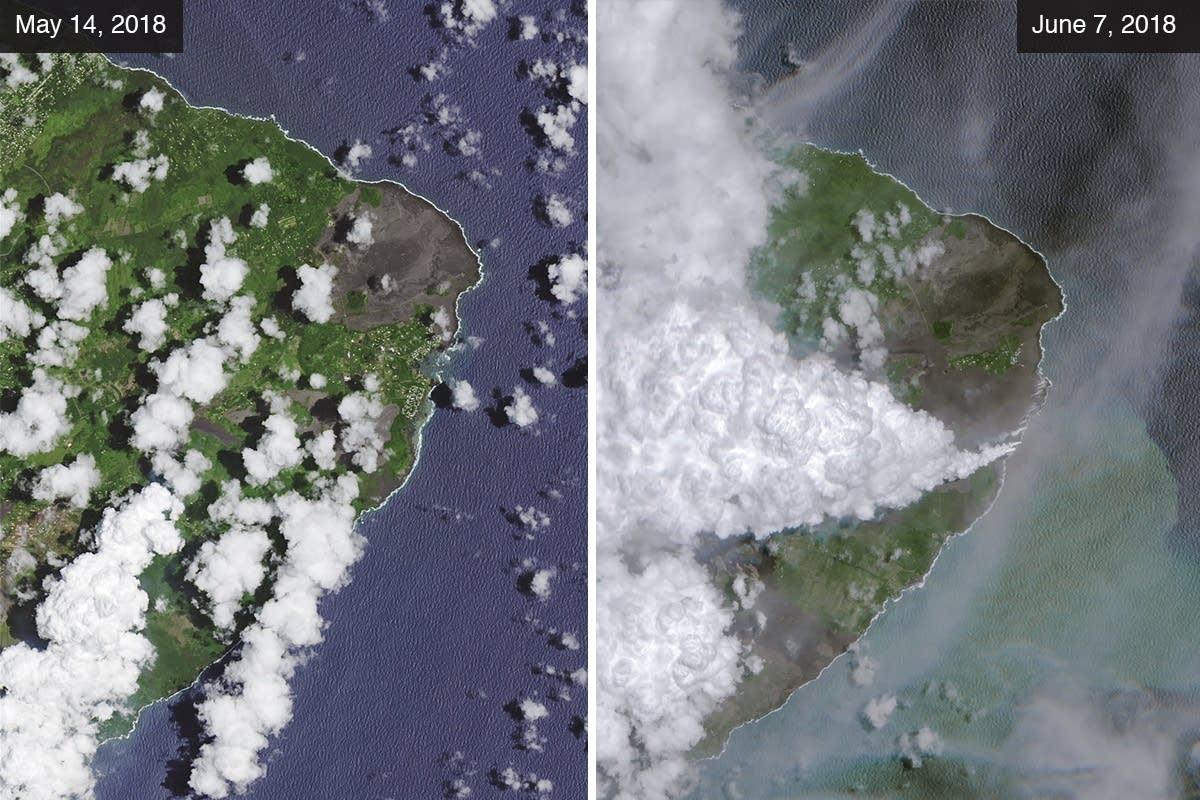 Lava from Mount Kilauea reaches the ocean at Kapoho Bay.