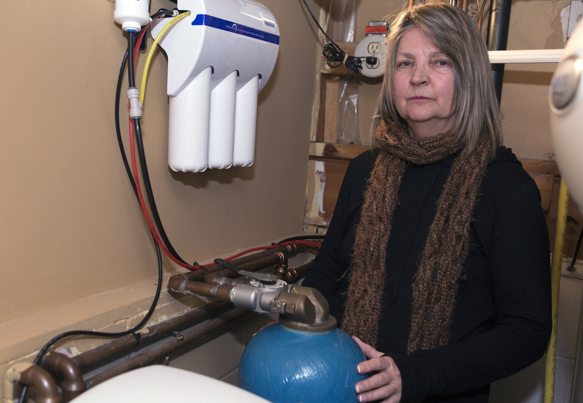 Jane Coy has installed a granular activated carbon filter in her basement.