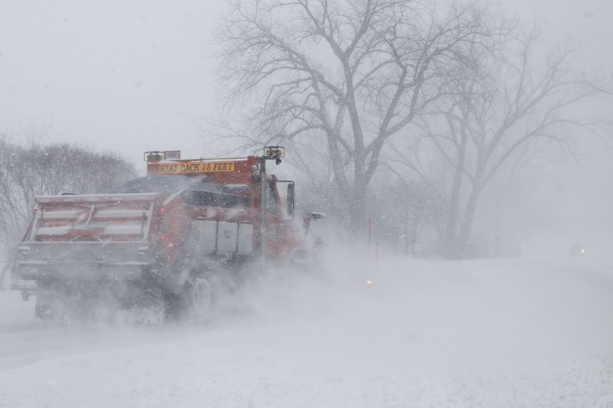 Plows were out trying to keep the main roads in Shoreview clear.