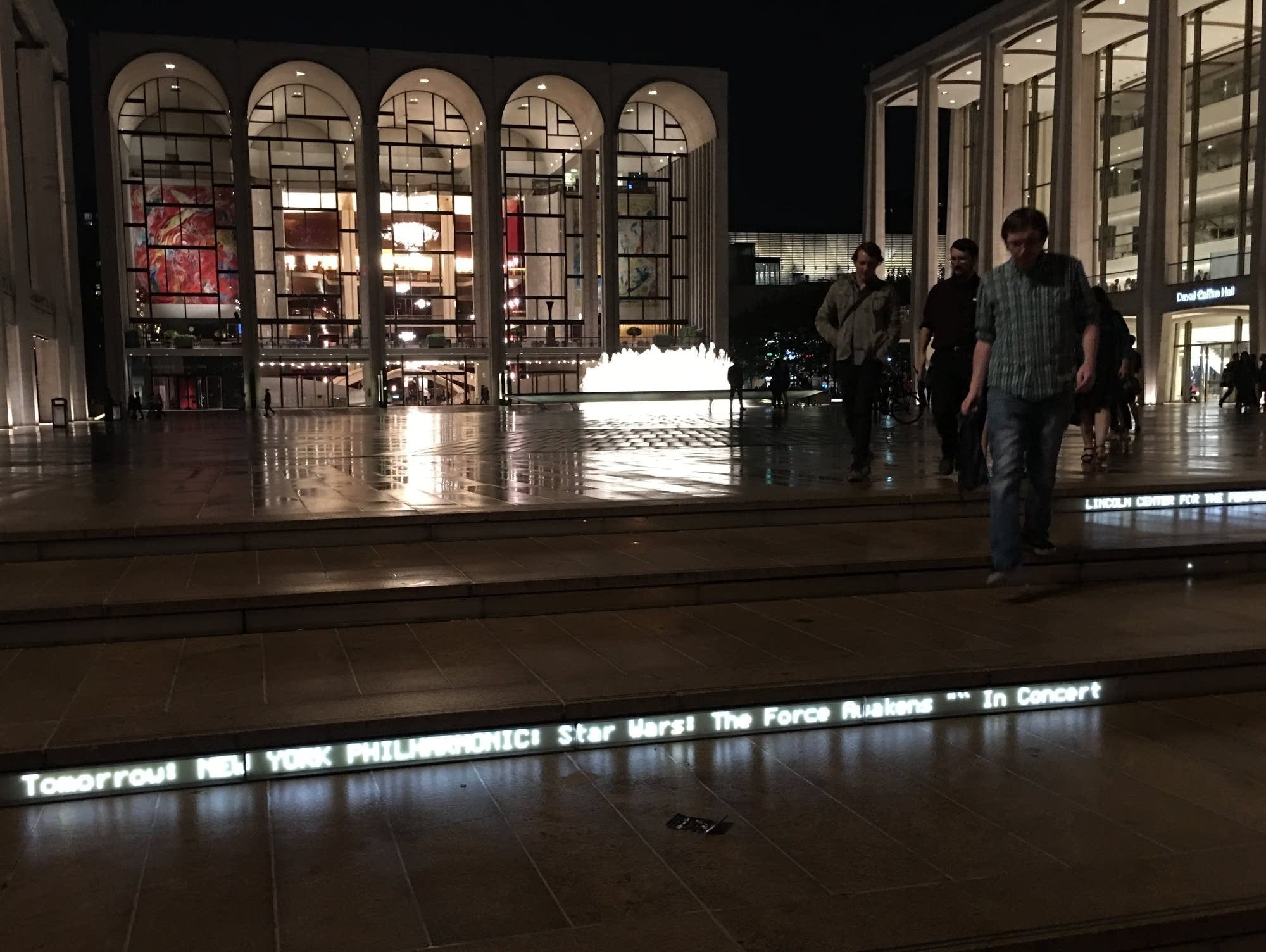 Fans exit a 'Star Wars' music performance at Lincoln Center.
