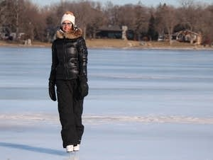 Amy Nelson skates on Lake Minnetonka