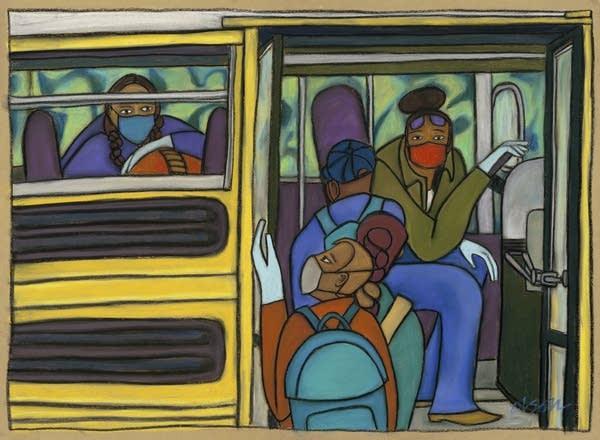 School Bus Driver, Essential Worker Portrait #42, by Carolyn Olson.