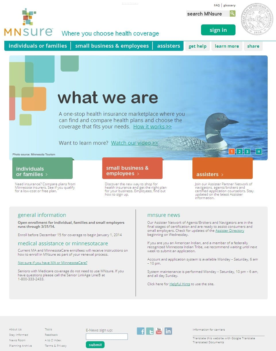 MNsure homepage