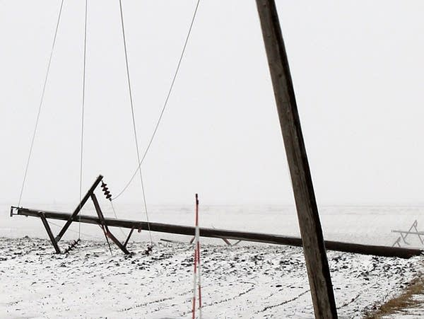 High wind and ice caused downed power lines near Rushmore, Minn.