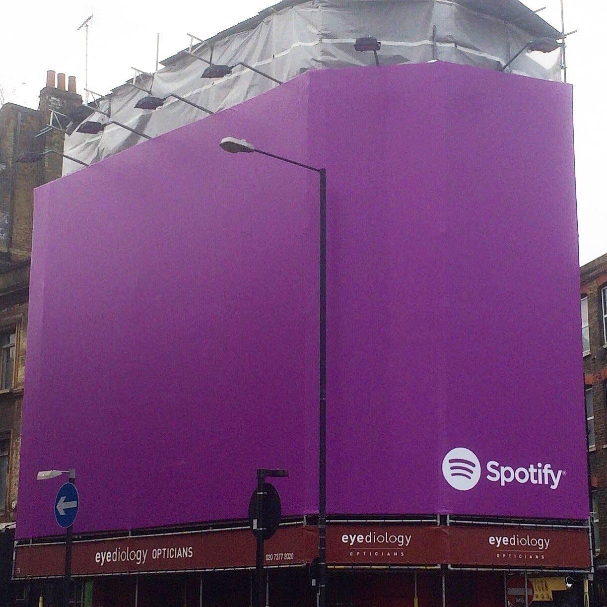A purple Spotify ad in London