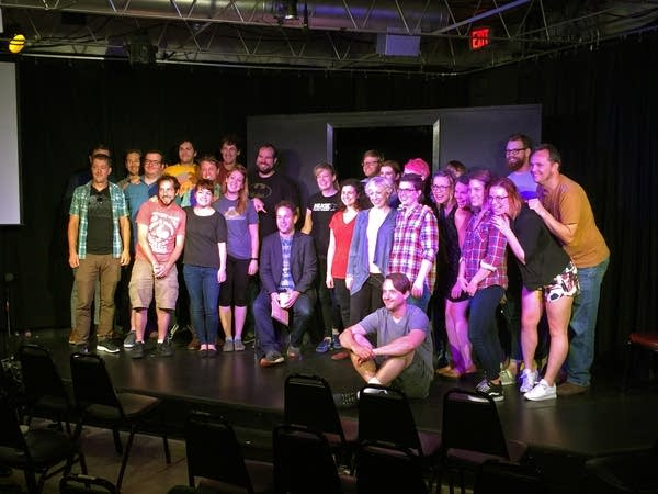 Mike Birbiglia poses with students at HUGE Improv.