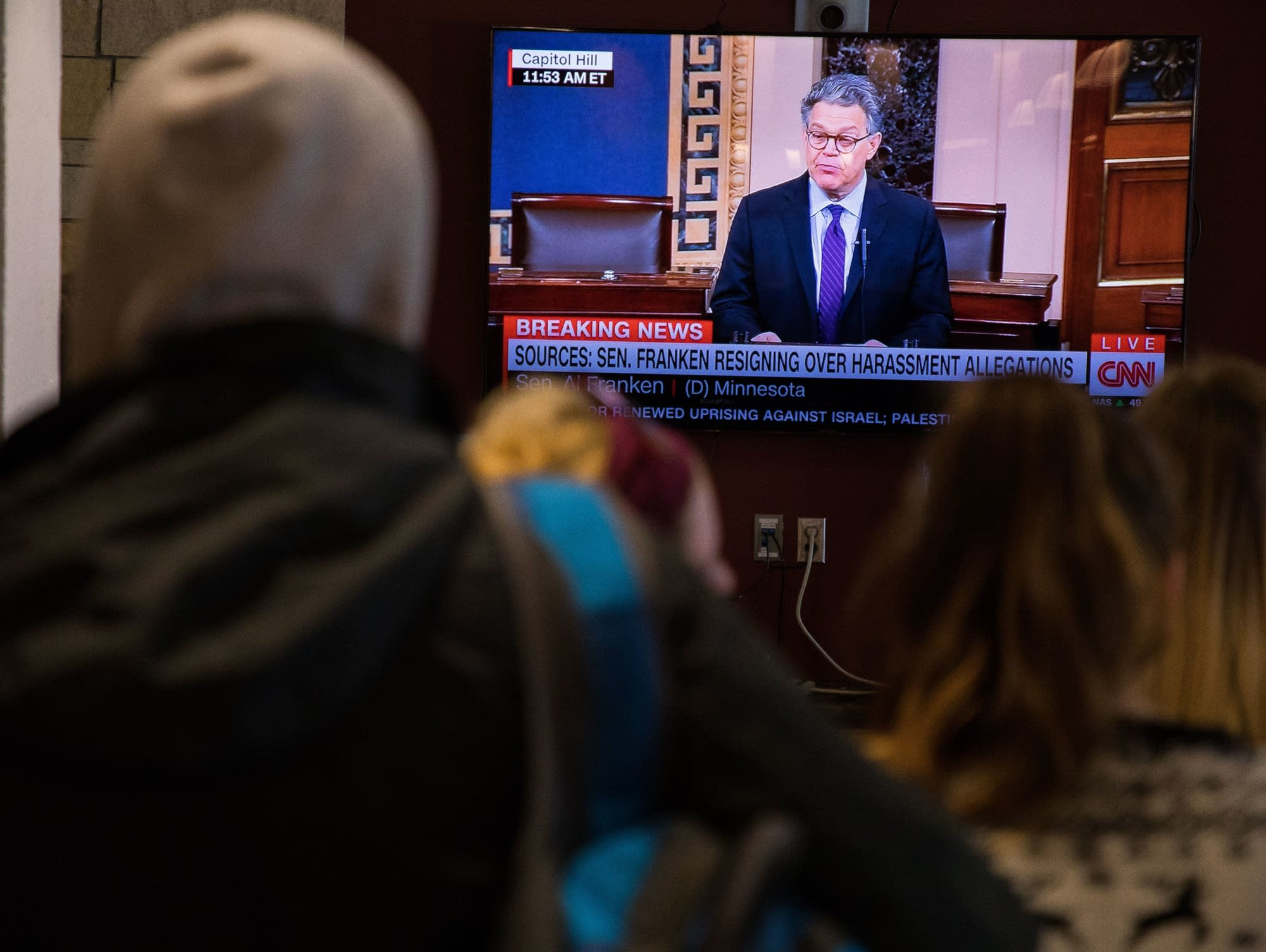University of Minnesota Duluth students watch Franken's resignation speech