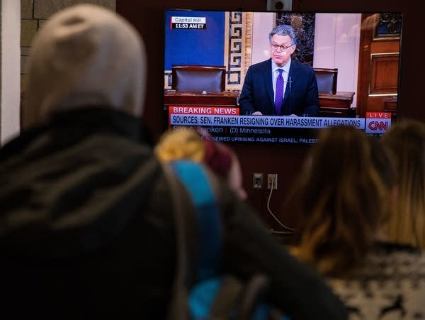 University of Minnesota Duluth students watch Franken's resignation speech