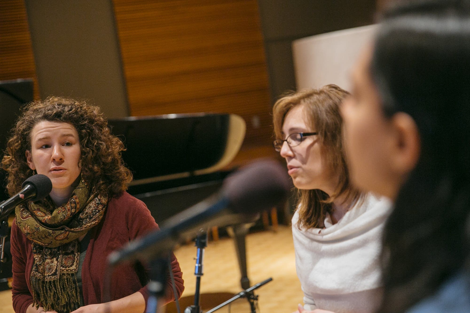 Sarah Larsson, left, sings in the Nightingale Trio