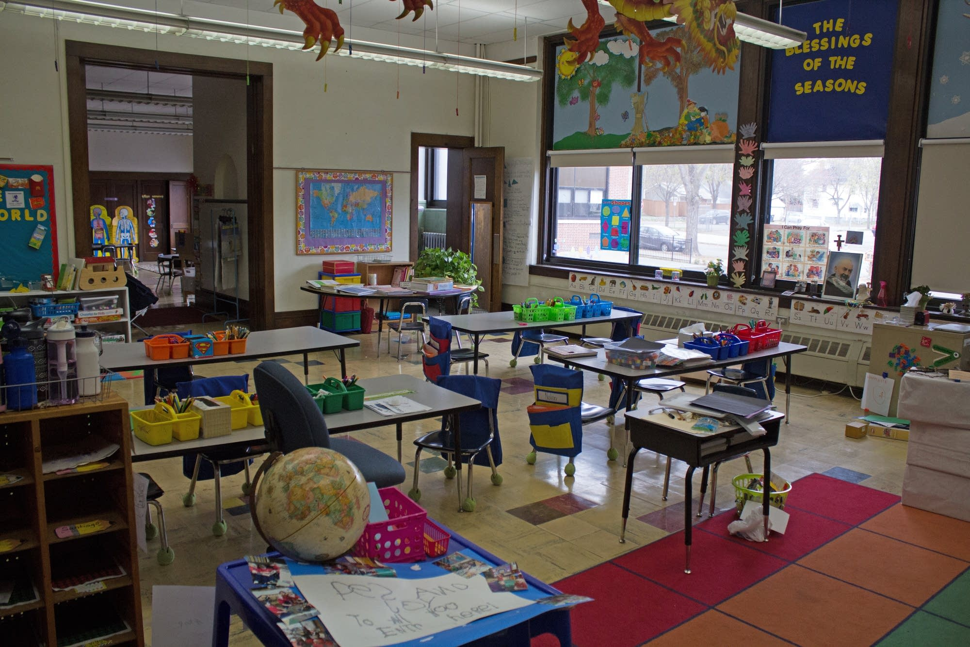 An empty classroom at St. Mark's Catholic School.