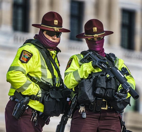 Capitol security watch protesters during a rally