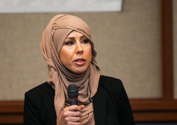 Candidate Regina Mustafa speaks during a forum.