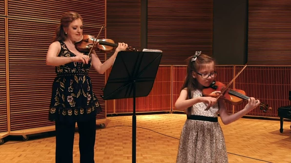 Rachel Barton Pine and her daughter, Sylvia