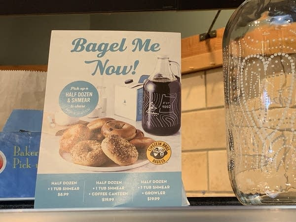 A sign for bagels