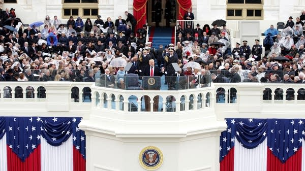 President Donald Trump delivers his inaugural address.