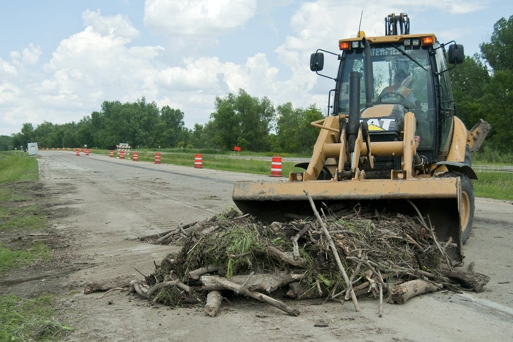 Cleaning the road of debris