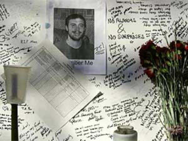 Memorial to victim