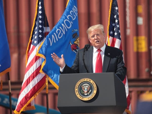 President Trump speaks during a visit to a shipyard