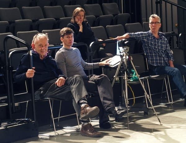 Fred Wiseman, left, sits next to James Sewell as they watch rehearsal.