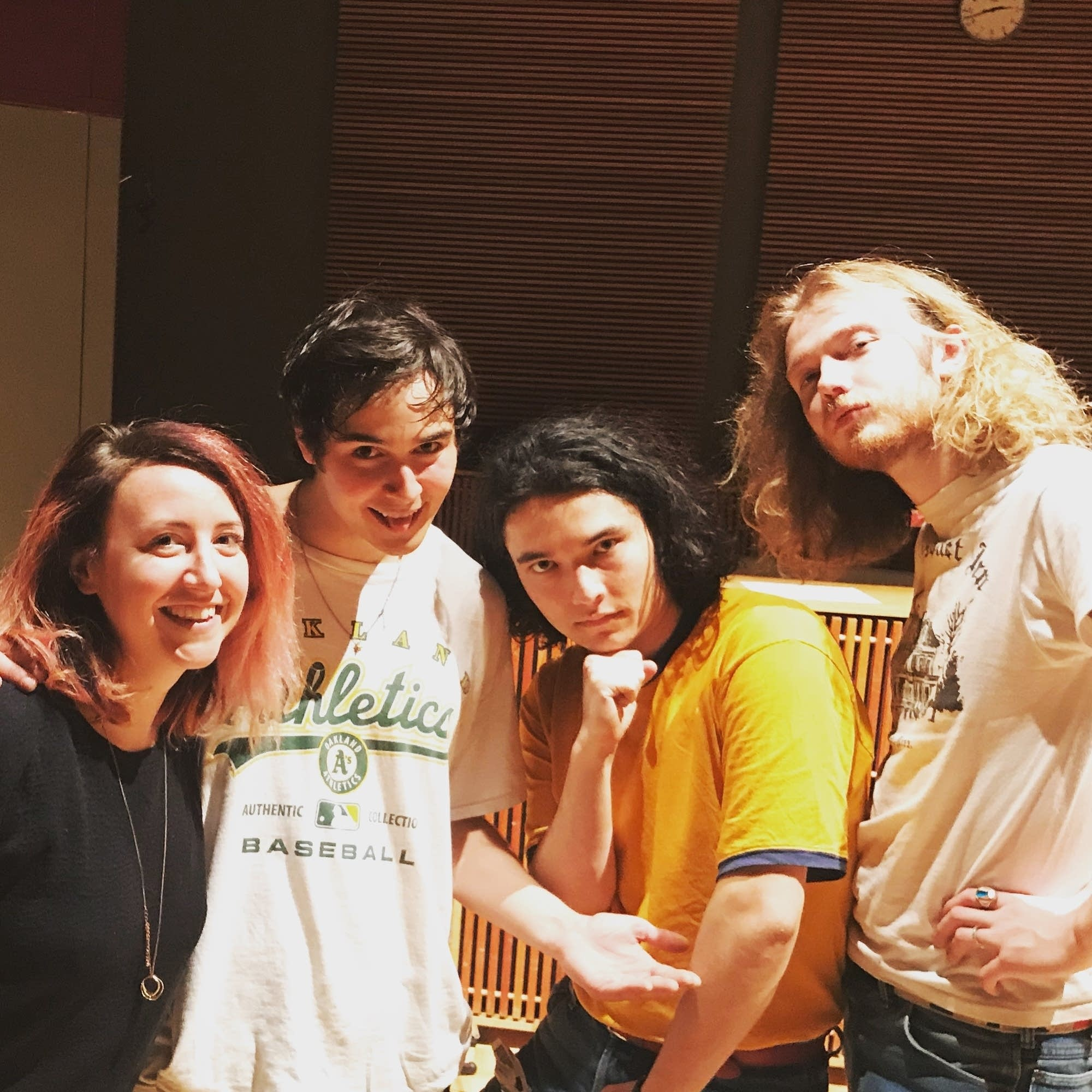 Jade in the studio with Naked Giants
