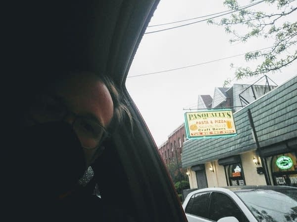 Listener Katrina in her car outside the REAL Pasqally's Pizza in Phily