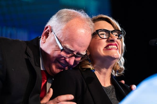 Governor-elect Tim Walz hugs Lt. Governor-elect Peggy Flanagan.