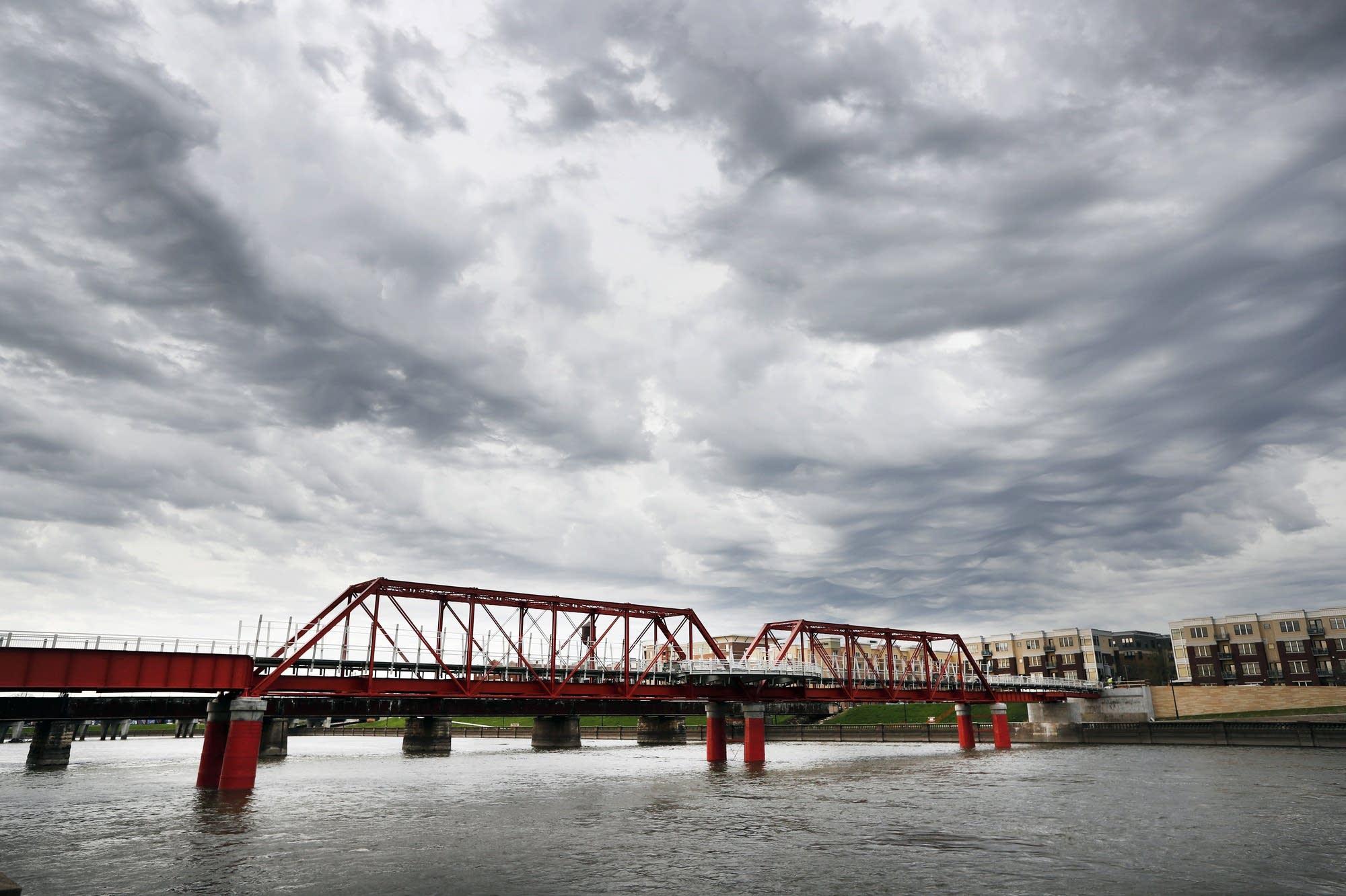 The Red Bridge pedestrian bridge is seen over the Des Moines River.