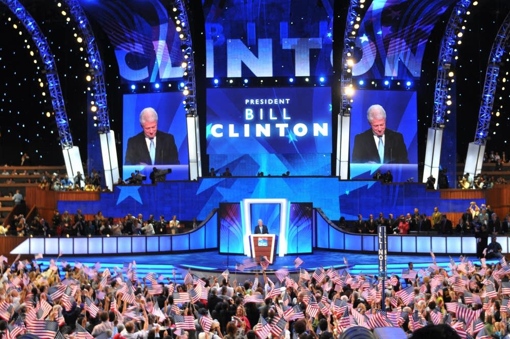 Bill Clinton takes the stage at the DNC