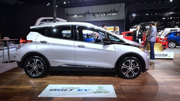 The Chevy Bolt EV on display