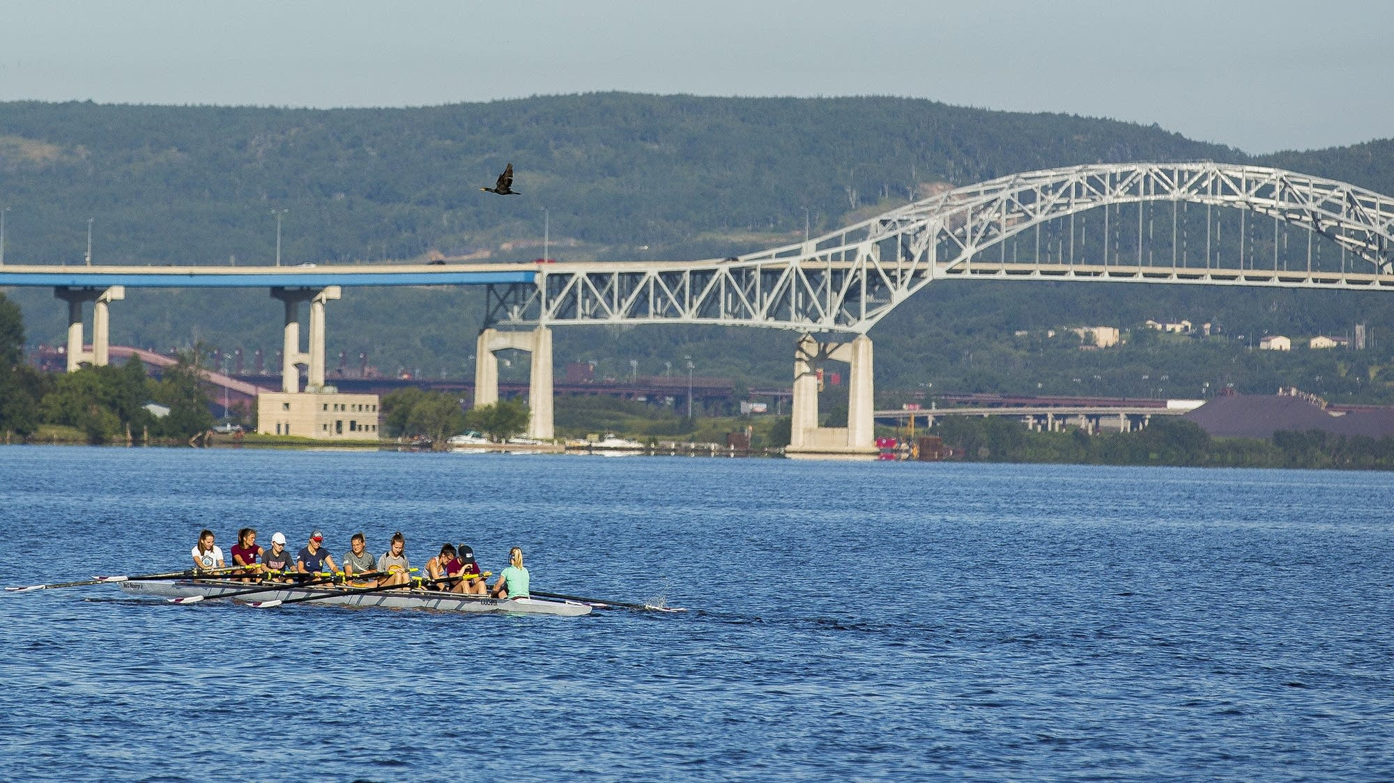 Rowers move past Blatnik Bridge.
