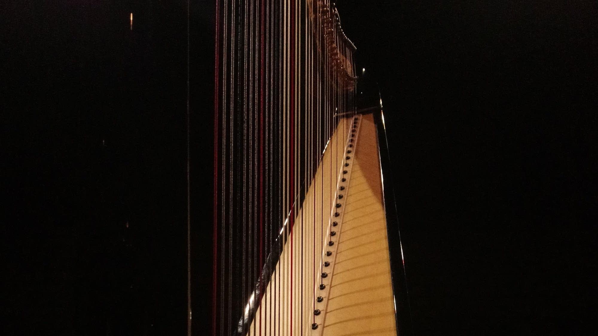 Black harp in shadows