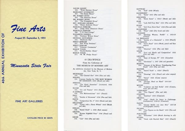 The catalog from the 1951 Fine Arts display at the Minnesota State Fair