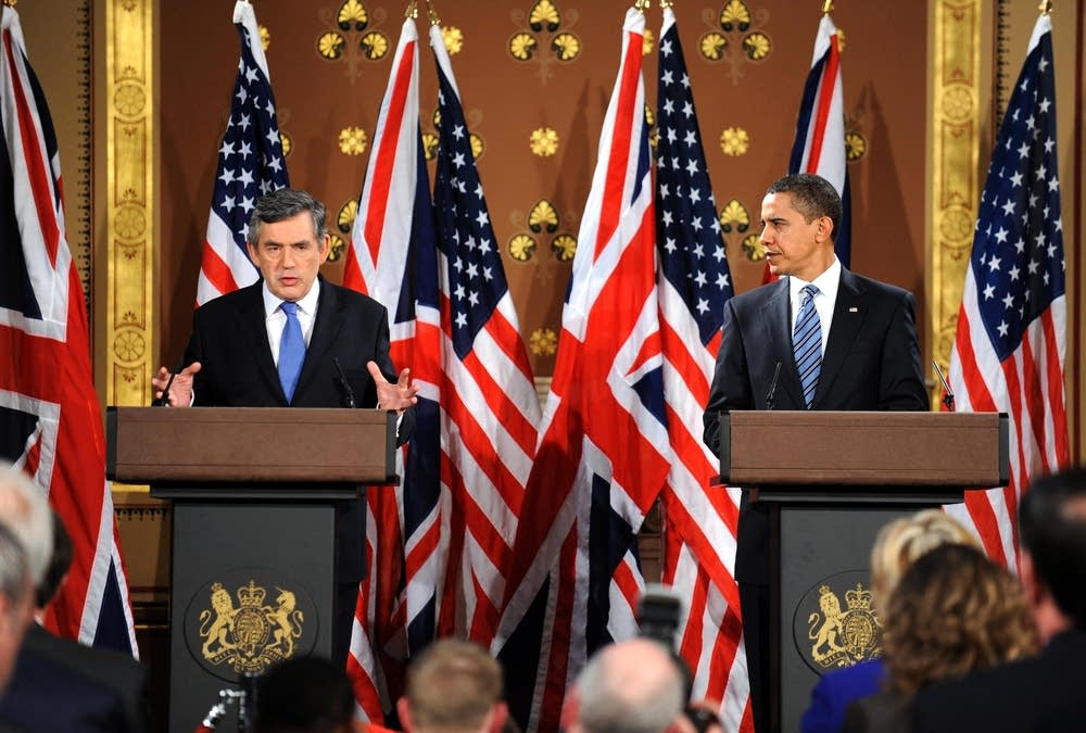 Gordon Brown & President Obama Hold Talks In Forei